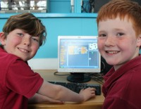 School children involved in Coding for Kids session