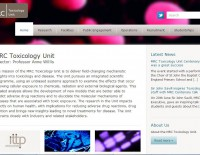 screen grab of MRC toxicology home page