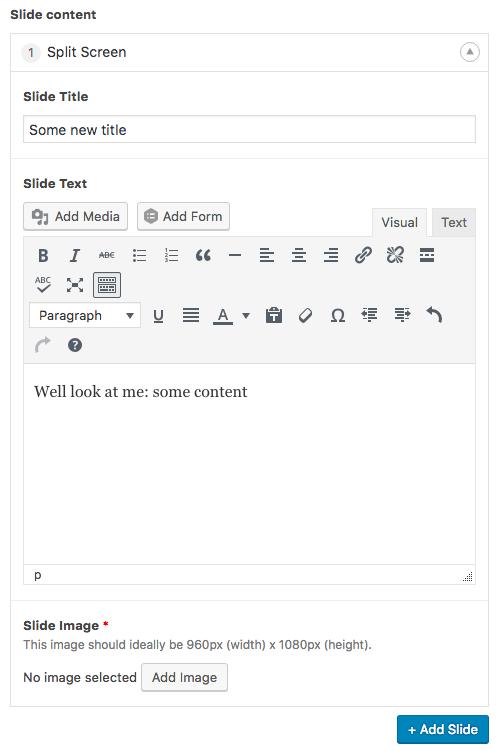 Slide editing screen
